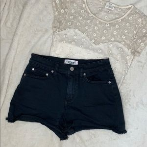Pink Black Denim Shorts